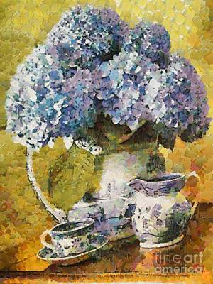 Painting - Floral Table Onset In Tiny Bubbles by Catherine Lott