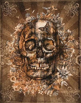 Painting - Floral Tropical Skull Vintage 2 by Bekim Art