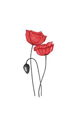 Red Poppies Drawing - Floral Wall Art, Poppy Wall Art Print, Flower Art Print Home Decor, Red Poppy Painting, Poppy Art   by Jurgita JurgaDream