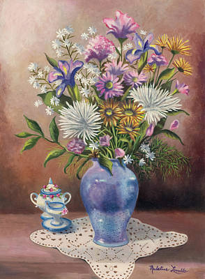 Painting - Floral With Blue Vase With Capadamonte by Madeline Lovallo