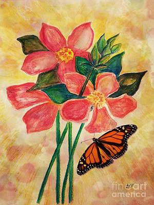 Photograph - Floral With Butterfly by Maria Urso
