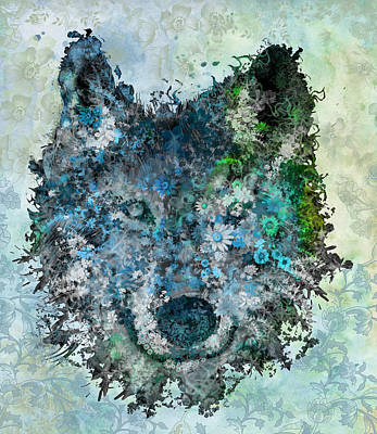 Painting - Floral Wolf 2 by Bekim Art