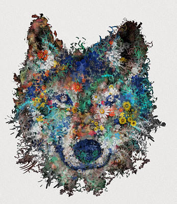 Moody Painting - Floral Wolf by Bekim Art