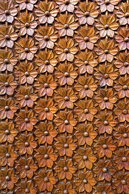 Photograph - Floral Woodcarving On Door Panel Closeup by David Gn