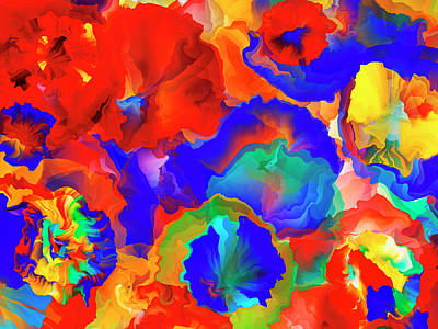 Florals In Abstract Art Print