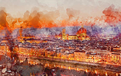 Painting - Florence - 08 by Andrea Mazzocchetti