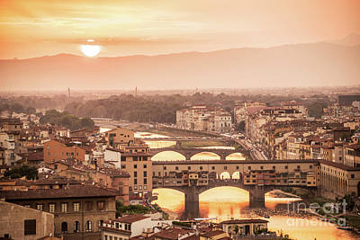 Florence Photograph - Florence At Sunset by Delphimages Photo Creations