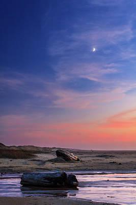 Photograph - Florence Beach Twilight Moon by James Eddy