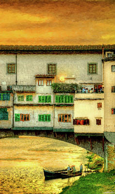 Photograph - Florence - Boats Under The Ponte Vecchio Sunset - Painting by Weston Westmoreland