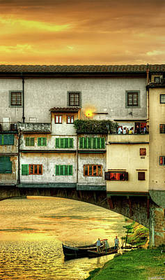 Photograph - Florence - Boats Under The Ponte Vecchio Sunset - Untextured by Weston Westmoreland