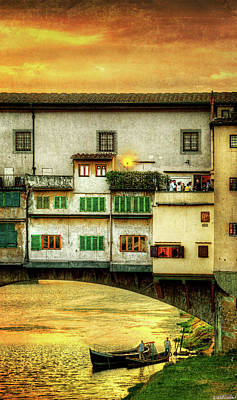Photograph - Florence - Boats Under The Ponte Vecchio Sunset by Weston Westmoreland