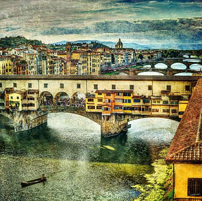 Photograph - Florence - Bridges Behind Ponte Vecchio - Vintage Version by Weston Westmoreland