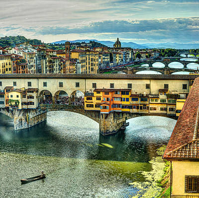 Photograph - Florence - Bridges Behind Ponte Vecchio by Weston Westmoreland