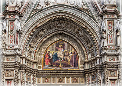 Photograph - Florence Cathedral Facade Detail by Carolyn Derstine