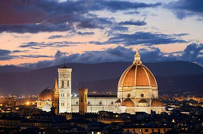 Photograph - Florence Cathedral Skyline Night by Songquan Deng