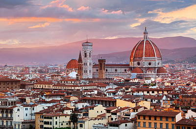 Photograph - Florence Cathedral Skyline Sunset by Songquan Deng