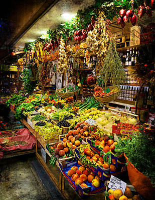 Photograph - Florence - Central Market Fruit Shop - Mercato Centrale by Weston Westmoreland