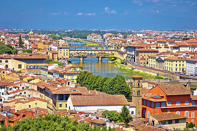 Modern Man Music - Florence city Arno river and ponte Vecchio aerial view by Brch Photography