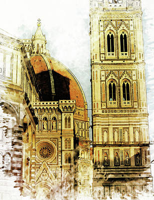 Florence Dome Architecture 1 - By Diana Van Art Print