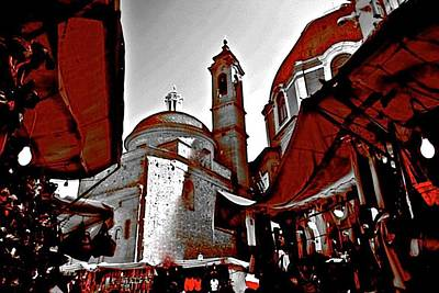 Mixed Media - Florence Flea Market Behind Duomo by Femina Photo Art By Maggie