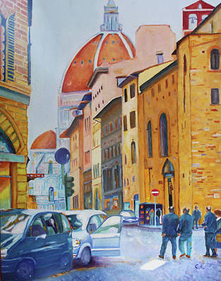 Painting - Florence Going To The Duomo by Christiane Kingsley