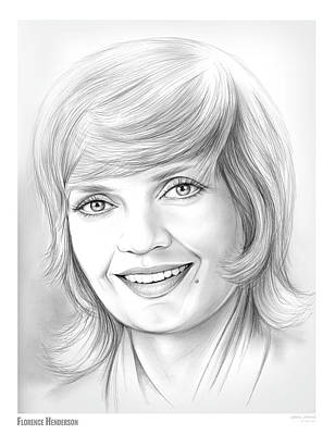 Henderson Wall Art - Drawing - Florence Henderson by Greg Joens