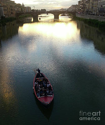Photograph - Florence Italy Arno River At Sunset by Gregory Dyer