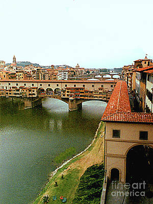 Photograph - Florence, Italy, Arno River View With Ponte Vecchio by Merton Allen