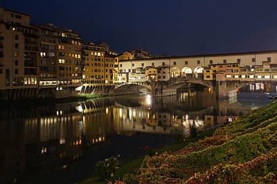 Photograph - Florence Italy Night Magic - A Glamorous Evening At Ponte Vecchio by Georgia Mizuleva