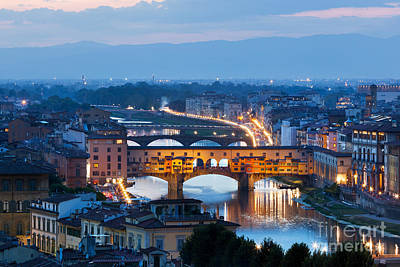 Photograph - Florence, Italy Night Skyline. Ponte Vecchio Bridge Over Arno River by Michal Bednarek