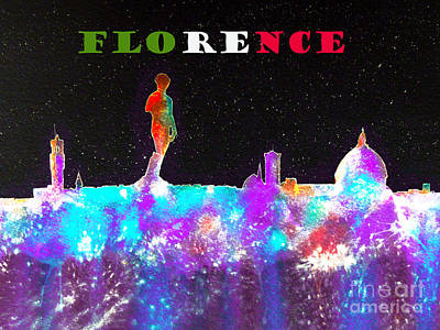 Painting - Florence Italy Skyline by Bill Holkham