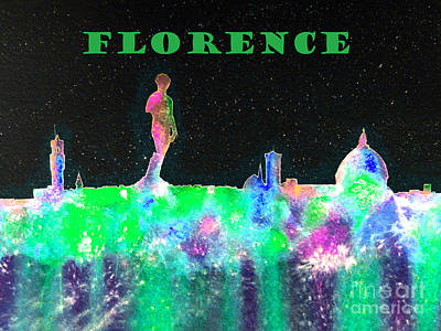 Painting - Florence Italy Skyline - Green Banner by Bill Holkham