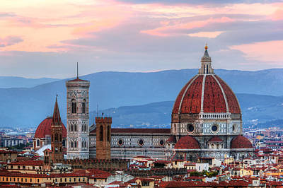 Florence, Italy Sunset Skyline. Cathedral Of Saint Mary Of The Flowers Art Print