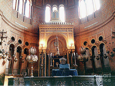 Photograph - Florence Italy Synagogue Interior View And Bima by Merton Allen