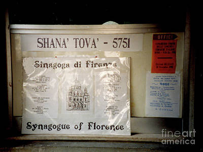 Photograph - Florence Italy Synagogue Shana Tova 5751  Happy New Year    by Merton Allen