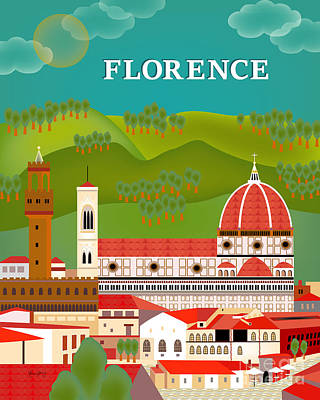 Saint Mary Digital Art - Florence Italy Vertical Scene by Karen Young
