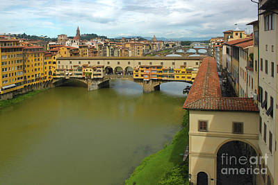 Photograph - Florence Italy View Of Arno River And Ponte Vecchio by Gregory Dyer