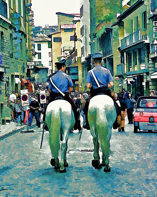 Photograph - Florence Mounted Policemen by Allen Beatty