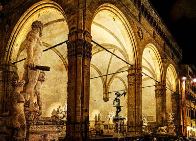Photograph - Florence - Night At The Loggia - Vintage Version by Weston Westmoreland