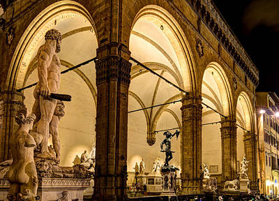 Photograph - Florence - Night At The Loggia by Weston Westmoreland