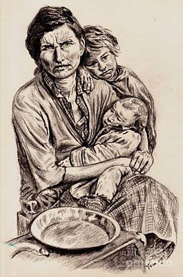 Drawing - Florence Owens With Children by Toon De Zwart