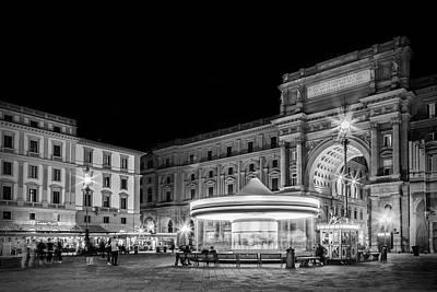 Florence Piazza Della Repubblica In The Evening Art Print by Melanie Viola