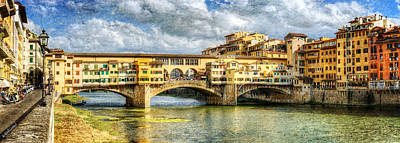 Photograph - Florence -  Ponte Vecchio And Oltrarno From The Northwestern Bank - Vintage Version by Weston Westmoreland