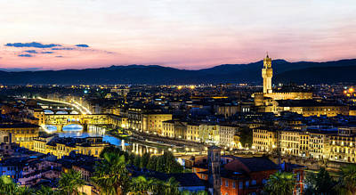 Photograph - Florence - Ponte Vecchio And Palazzo Vecchio At Dusk by Weston Westmoreland
