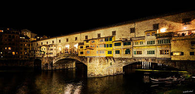 Photograph - Florence - Ponte Vecchio At Night - East Side - Vintage Version by Weston Westmoreland