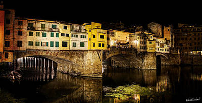Photograph - Florence - Ponte Vecchio At Night - West Side - Vintage Version by Weston Westmoreland