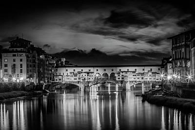 Florence Ponte Vecchio At Sunset Monochrome Art Print