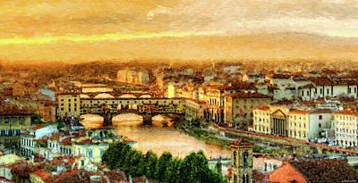 Digital Art - Florence - Ponte Vecchio At Sunset by Weston Westmoreland