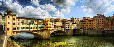 Photograph - Florence -  Ponte Vecchio From The Northwestern Bank - Vintage by Weston Westmoreland