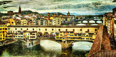 Photograph - Florence - Ponte Vecchio From Uffizi - Vintage Version by Weston Westmoreland